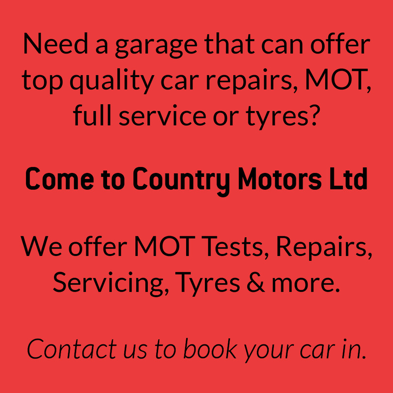 Need a garage that can offer top quality car repairs, MOT, full service or tyres?  Come to Country Motors Ltd We offer MOT Tests, Repairs, Servicing, Tyres & more. Contact us to book your car in.