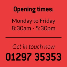 Country Motors Opening Times  01297 35353
